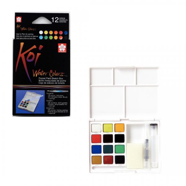 Akvareļkrāsas Koi 12 krāsas ceļojumu kastē