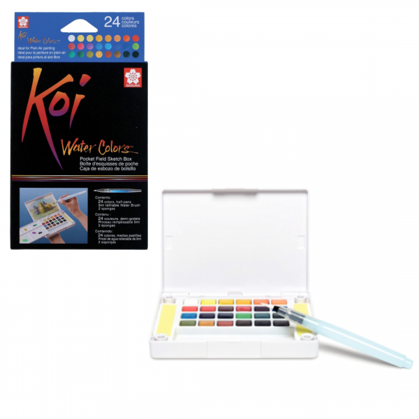 Akvareļkrāsas Koi 24 krāsas ceļojumu kastē