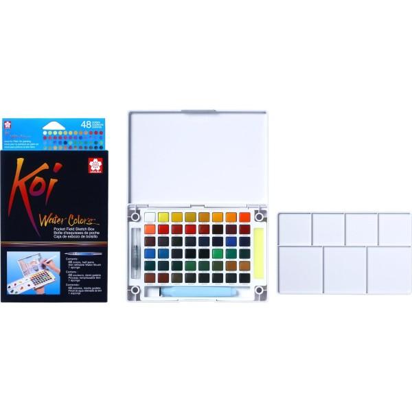 Akvareļkrāsas Koi 48 krāsas ceļojumu kastē