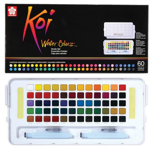 Akvareļkrāsas Koi 60 krāsas ceļojumu kastē
