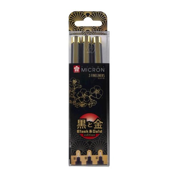 Komplekts Pigma Micron  Black & Gold Edition 3 gab