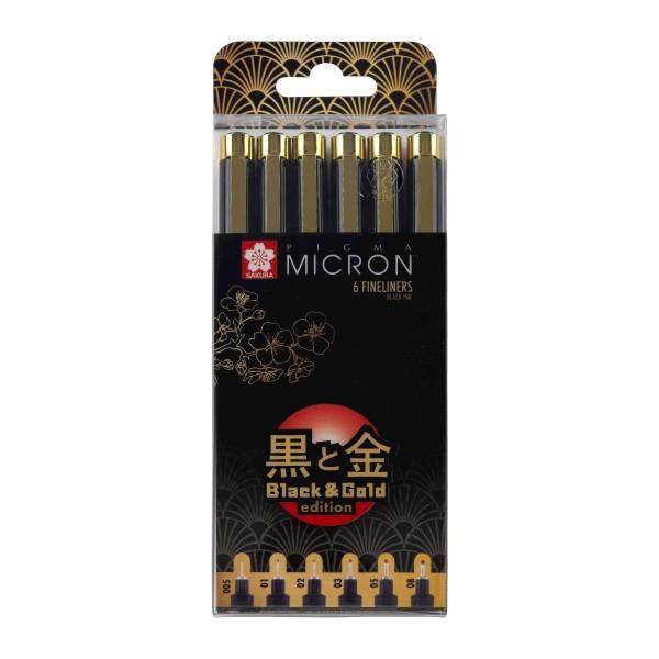 Komplekts Pigma Micron  Black & Gold Edition 6 gab