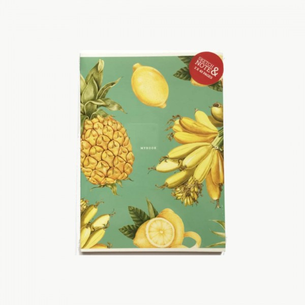 A5 Klades  Twin Book Sketch & Note Gold Banana & Pineapple 2 gab