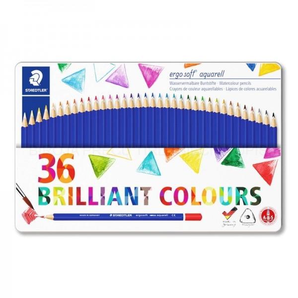 Akvareļu zīmuļi Ergo Soft  36 krāsas metāla penālī