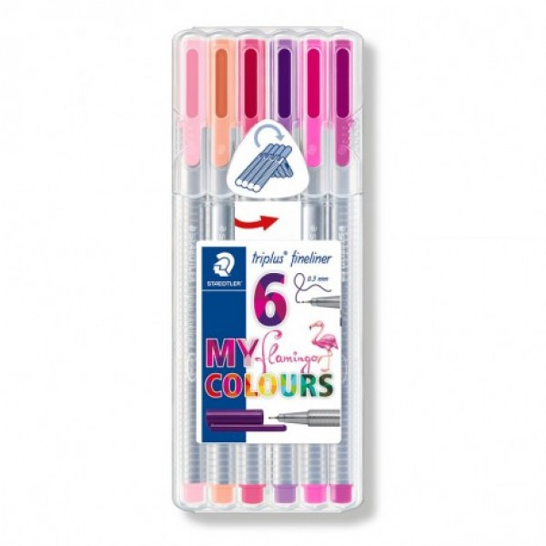 Flomāstera pildspalvas Staedtler Triplus® Fineliner 6 kr; Flamingo