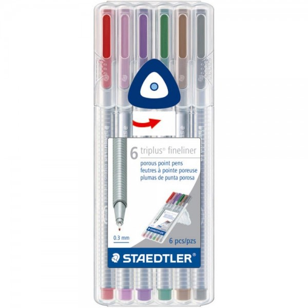 Flomāstera pildspalvas Staedtler Triplus® Fineliner 6 kr; Nature