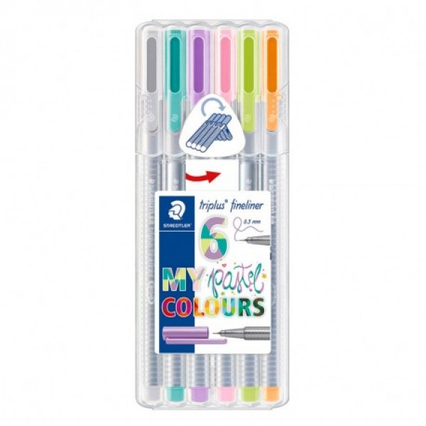 Flomāstera pildspalvas Staedtler Triplus® Fineliner 6 kr; Pastel