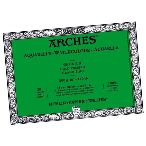 Akvareļu albums Arches 18x26 cm; Grain Fin; Cold Pressed 100 % kokvilna
