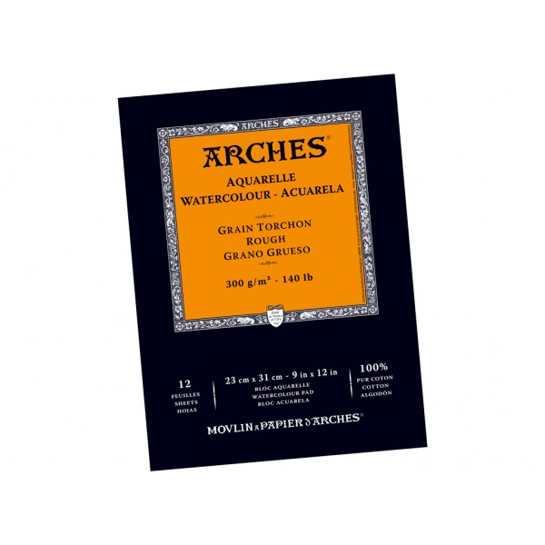 Akvareļu albums Arches 23x31 cm; Grain Torchon 100 % kokvilna
