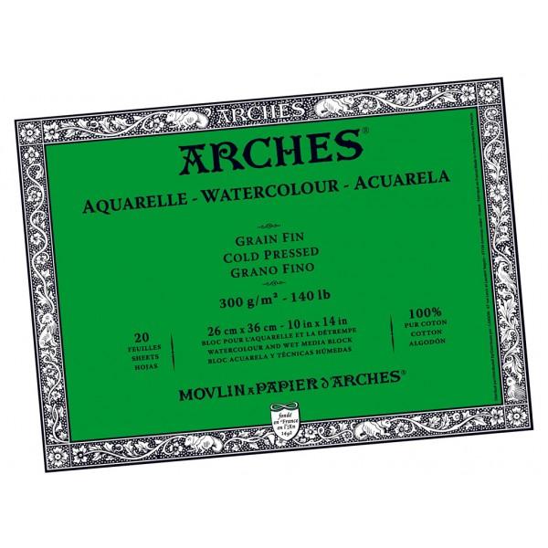 Akvareļu albums Arches 26x36 cm; Grain Fin; Cold Pressed 100 % kokvilna