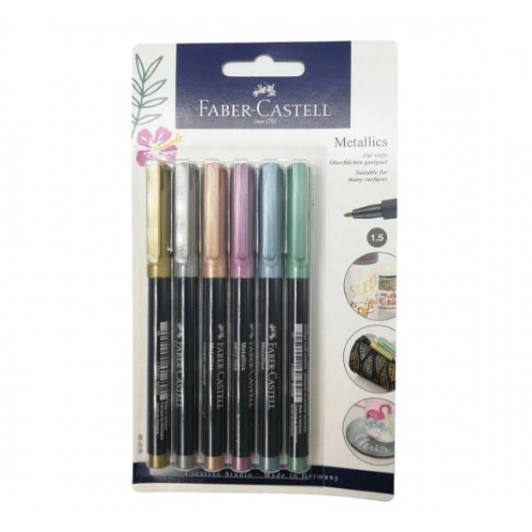 Faber Castell  metālisko  flomāsteru komplekts 6 krāsas.