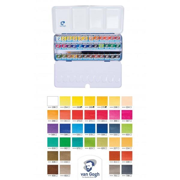 Akvareļu krāsas van Gogh  36 krāsas metāla kastē+ otiņa