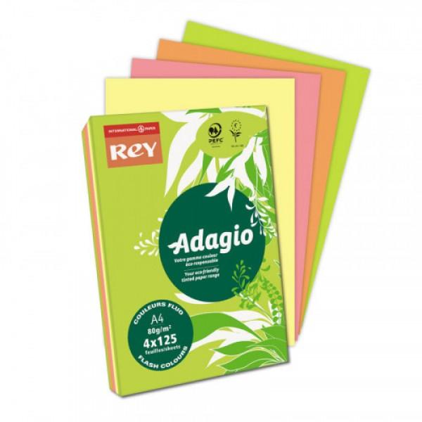 Biroja papīrs Rey Adagio Flash colors  4x125; 80gr/m