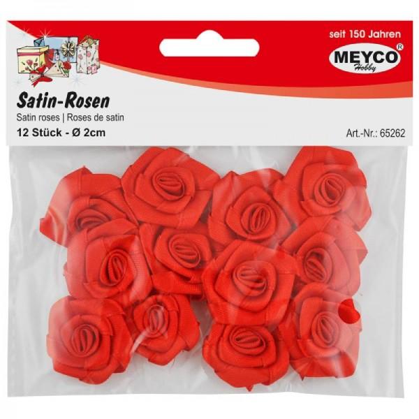 Satīna rozes; 12 gab; d:2cm; sarkanas