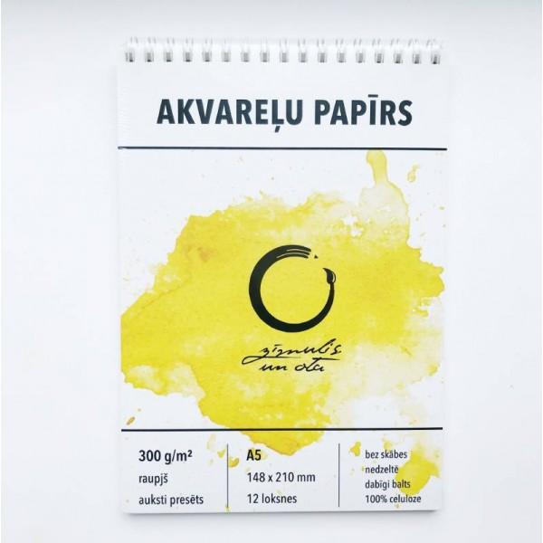 Akvareļu albums Zīmulis un Ota , 300 gr/m A5 ar spirāli