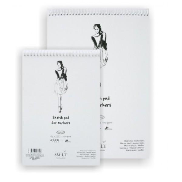 Skiču albums marķierim A4 ar spirāli baltos vākos