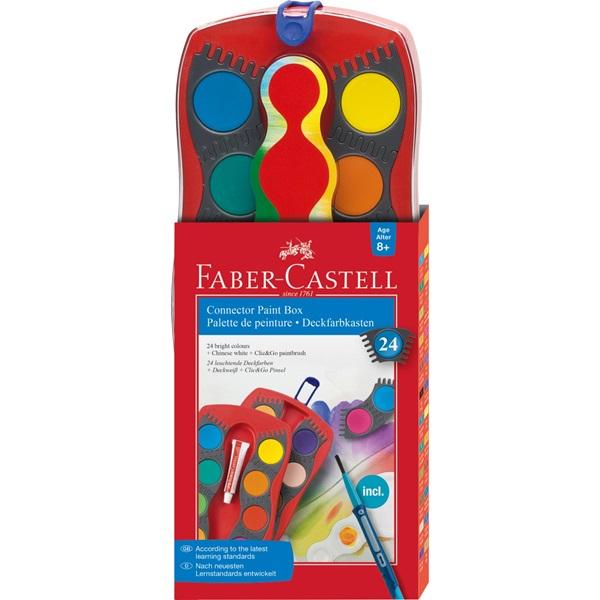 Akvareļu krāsas Faber-Castell, 24 krāsas un saliekama ota