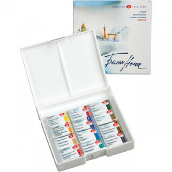 Mākslinieku akvareļkrāsas БЕЛЫЕ НОЧИ, 12 krāsas plastmasas kastē