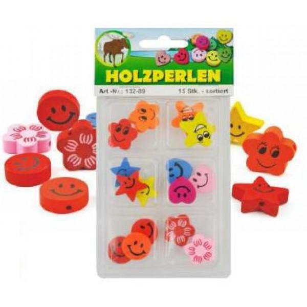 Koka dažādu formu krāsainas pērlītes bērniem