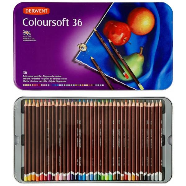 """Krāsainie zīmuļi Derwent """"Coloursoft"""" metāla penālī, 36 krāsas"""