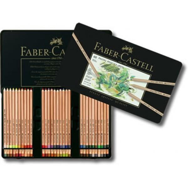 Pasteļzīmuļi Faber-Castell metāla kastē, 60 krāsas