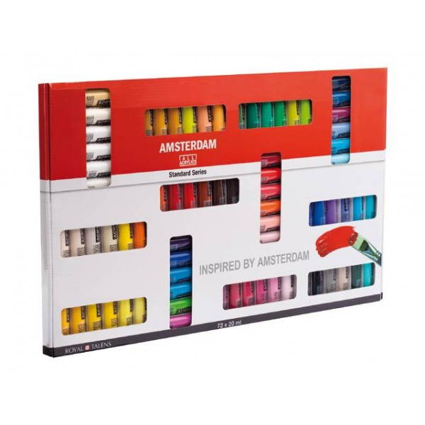 Akrila krāsu komplekts Amsterdam, 72 krāsas, 20ml