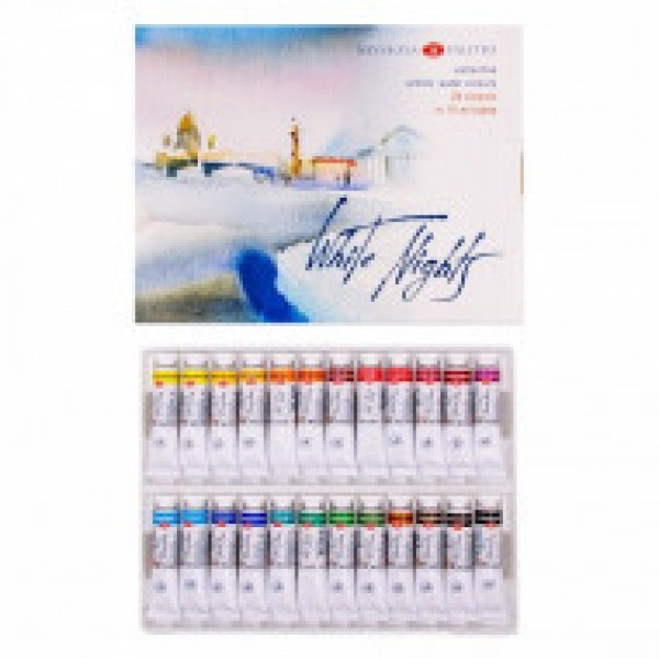 Mākslinieku akvareļkrāsas БЕЛЫЕ НОЧИ tūbiņās, 24 krāsas 10ml