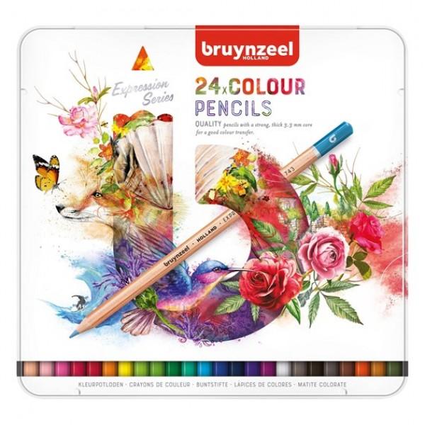 Krāsainie zīmuļi metāla kastē Bruynzeel Expression , 24 krāsas