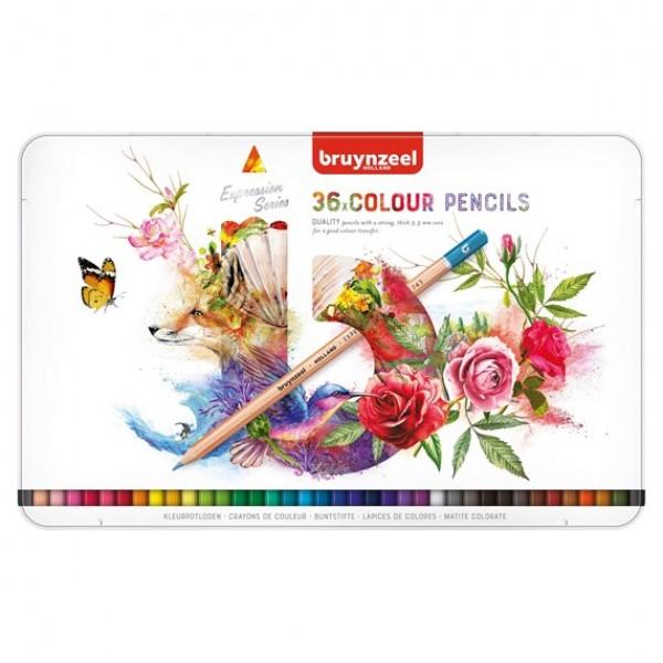 Krāsainie zīmuļi metāla kastē Bruynzeel Expression , 36 krāsas