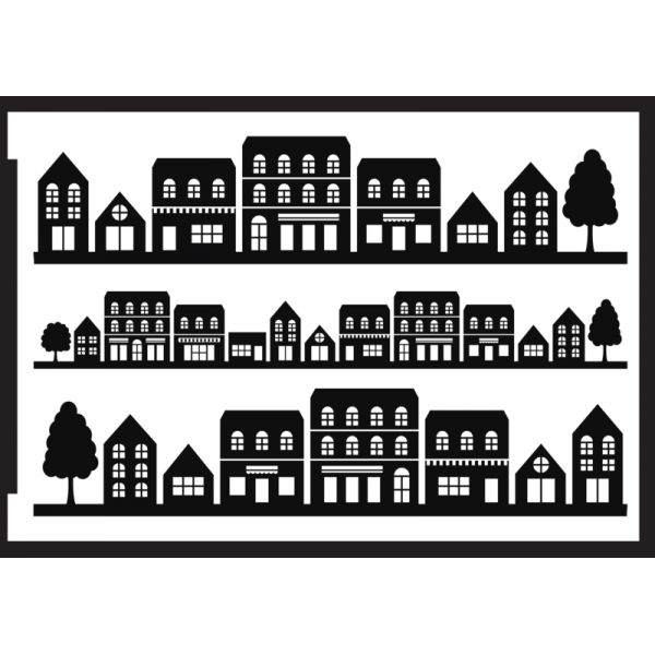 Negatīva efekta stencils A5 - māju rinda