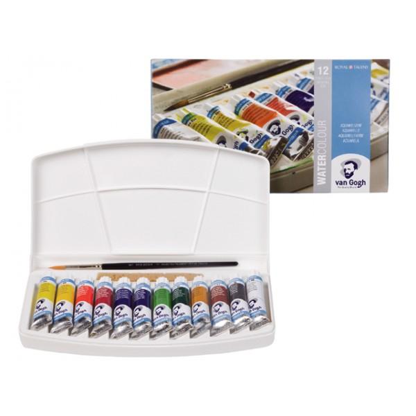 Akvareļu krāsas tūbiņās  van Gogh, 12x10ml + ota