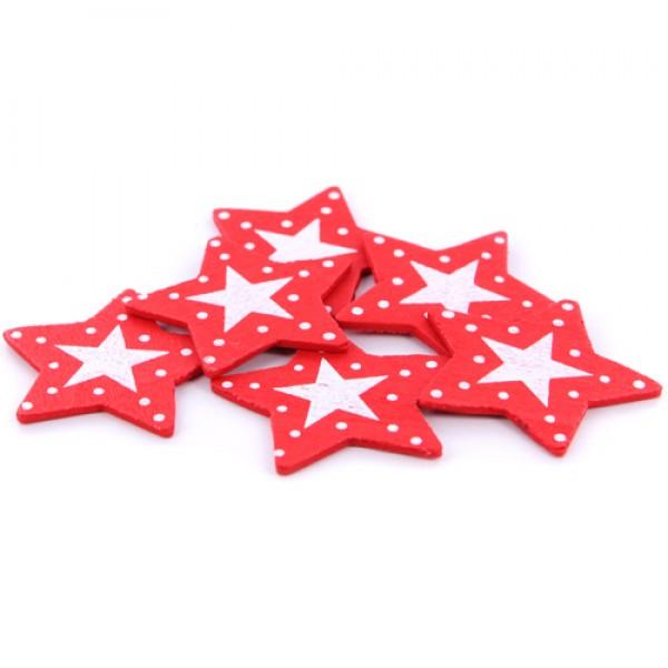 Koka zvaigznīšu komplekts sarkani baltas