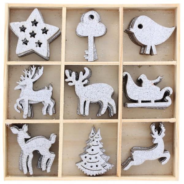 Sudraboti ziemassvētku koka dekori pa vienam (dažādi)