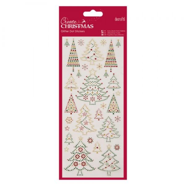 Ziemassvētku eglītes - uzlīmes no gliteriem