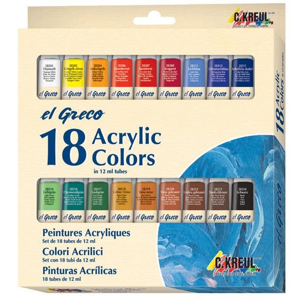 Akrila krāsu komplekts el Greco, 18x12ml