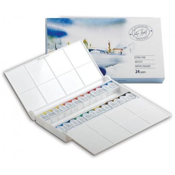 Mākslinieku akvareļkrāsas БЕЛЫЕ НОЧИ, 24 krāsas plastmasas kastē