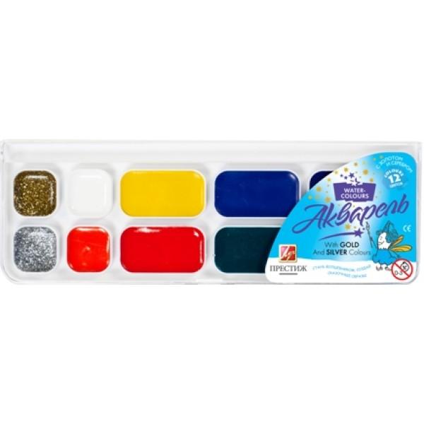Akvareļkrāsas PRESTIŽ, 12 krāsas