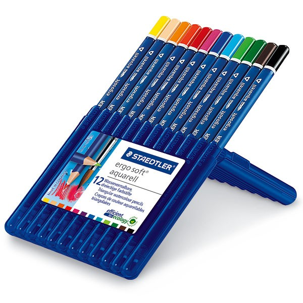 Akvareļu zīmuļi Ergo Soft plastmasas penālī, 12 krāsas
