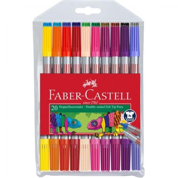 Divpusējie flomāsteri Faber-Castell, 20 krāsas