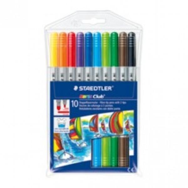 Divpusējie flomasteri Noris Club 10 krāsas