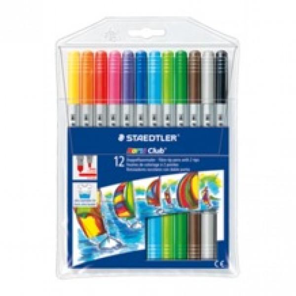 Divpusējie flomasteri Noris Club 12 krāsas