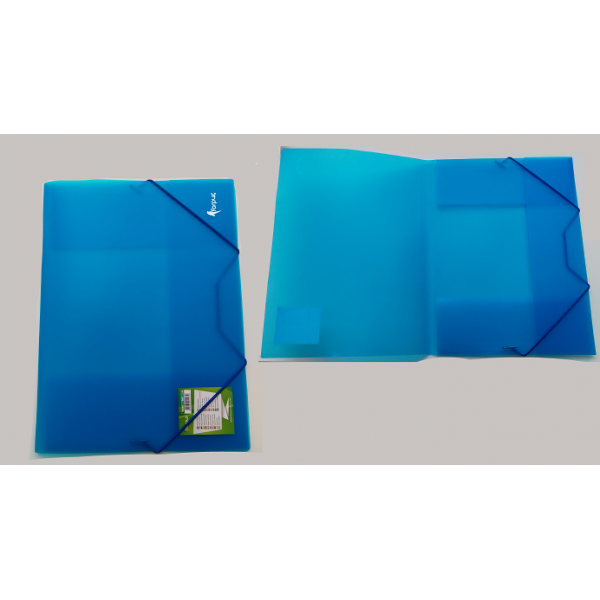 Mape ar gumiju FORPUS A4 formāts, 20 mm,caurspīdīgi- zila