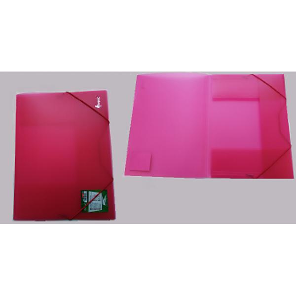 Mape ar gumiju FORPUS A4 formāts, 20 mm,caurspīdīgi-sarkana