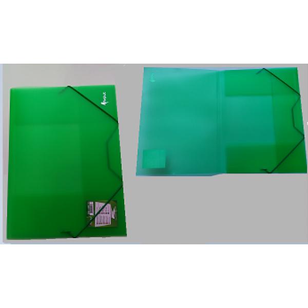 Mape ar gumiju FORPUS A4 formāts, 20 mm,caurspīdīgi- zaļa