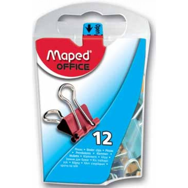 Saspiedēji ( klipši ) papīram  MAPED 15 mm, daudzkrāsaini. 12 gab. / iepakojumā