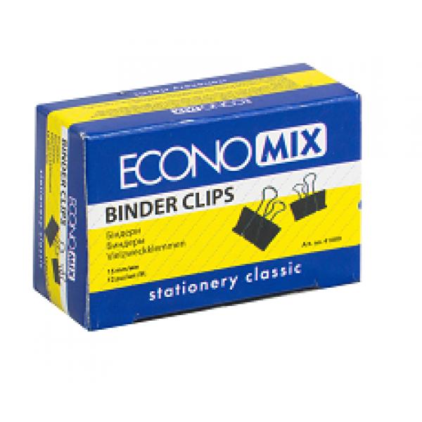 Saspiedēji ( klipši ) papīram  ECONOMIX 15 mm, melni. 12 gab. / iepakojumā
