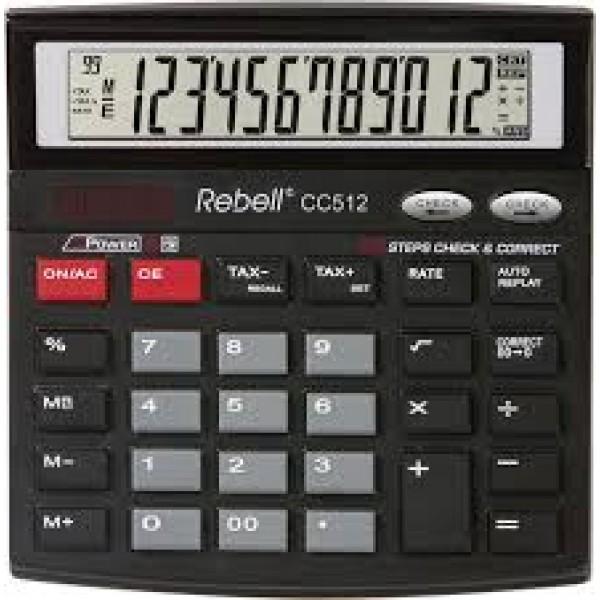 Kalkulators REBELL CC512, melns