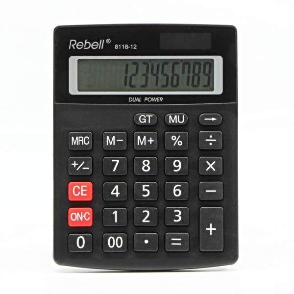 Kalkulators REBELL 8118 - 12, melns