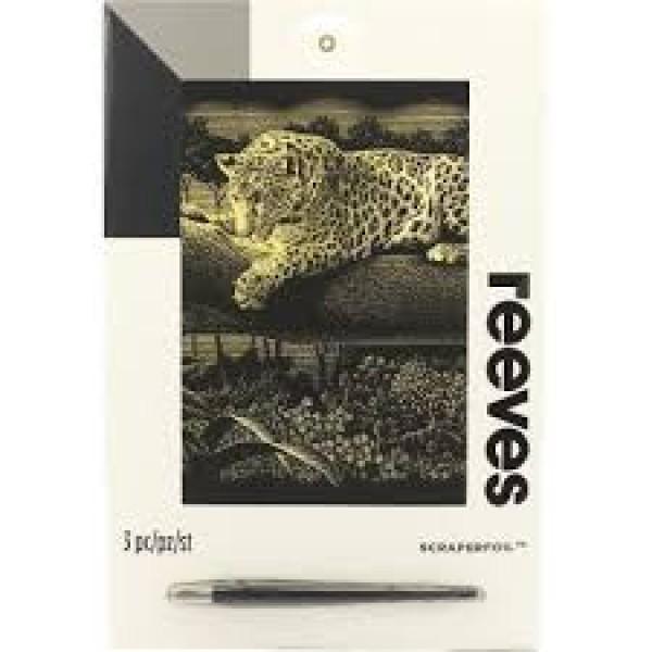 Gravīras skrāpējamā follija uz zelta fona - Leopards džunģlos A4