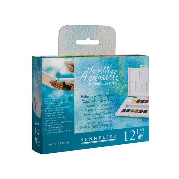Akvareļkrāsas Sennelier La Petite Aquarelle 12 krāsas ceļojumu kastē